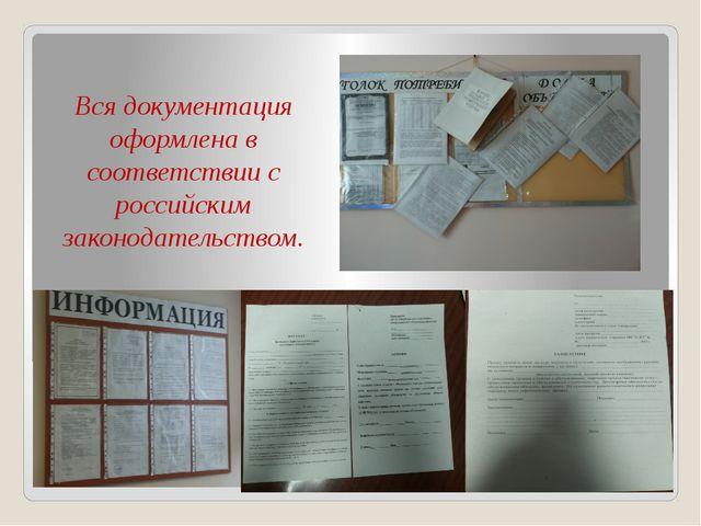 Вся документация оформлена в соответствии с российским законодательством.
