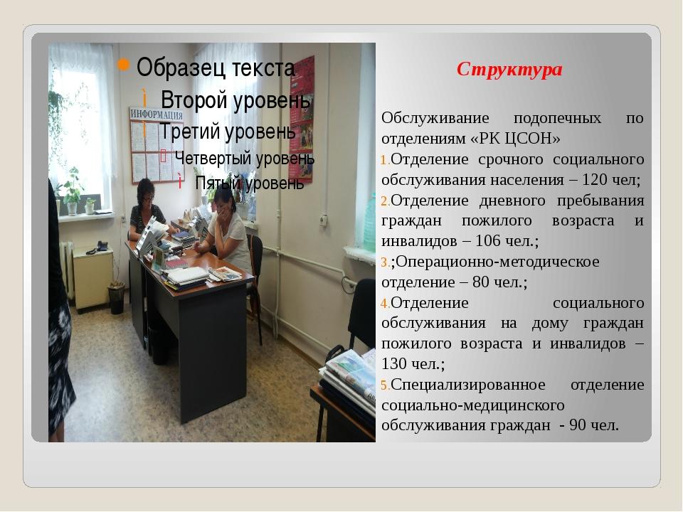 Структура Обслуживание подопечных по отделениям «РК ЦСОН» Отделение срочного...