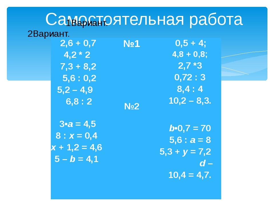 Самостоятельная работа 1Вариант. 2Вариант. 2,6 + 0,7 4,2*2 7,3 + 8,2 5,6 :...