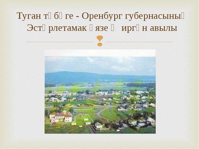 Туган төбәге - Оренбург губернасының Эстәрлетамак өязе Җиргән авылы