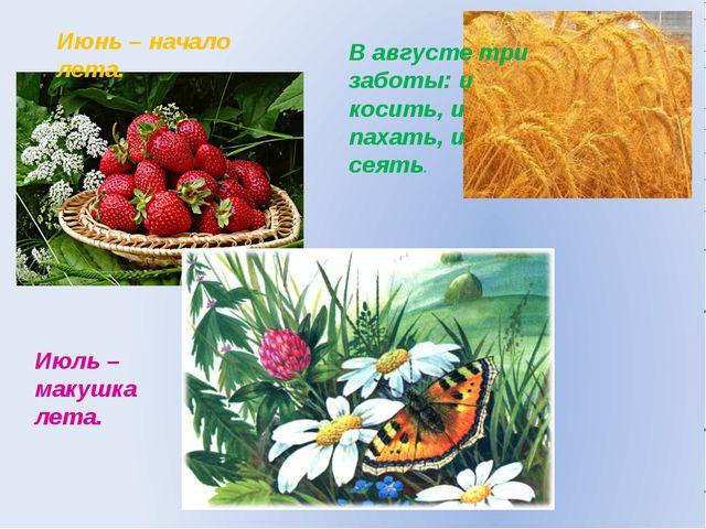 Июнь – начало лета. Июль – макушка лета. В августе три заботы: и косить, и па...