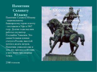 Памятник Салавату Юлаеву Памятник Салавату Юлаеву - национальному башкирскому