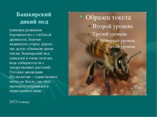 Башкирский дикий мед Башкиры развивали бортничество с глубокой древности. Бор