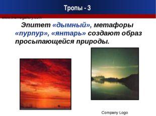 Тропы - 3 Эпитет «дымный», метафоры «пурпур», «янтарь» создают образ просыпаю