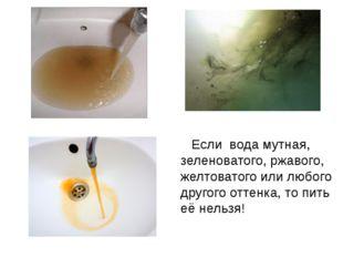 Если вода мутная, зеленоватого, ржавого, желтоватого или любого другого отт