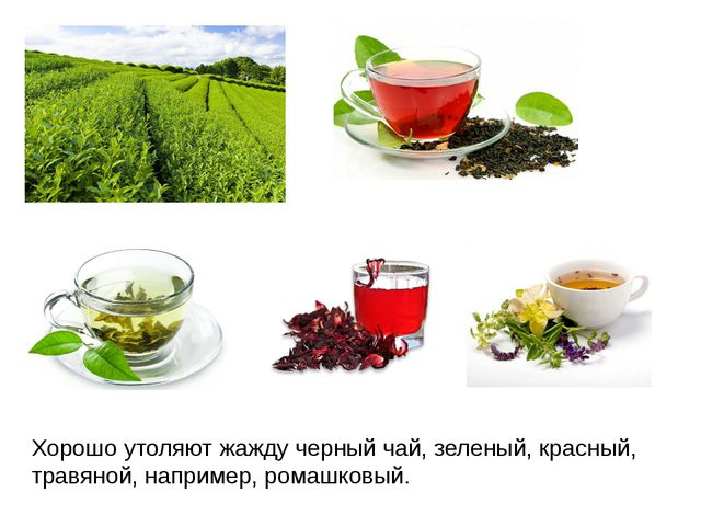 Хорошо утоляют жажду черный чай, зеленый, красный, травяной, например, ромашк...