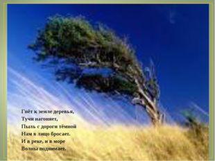 Гнёт к земле деревья, Тучи нагоняет, Пыль с дороги тёмной Нам в лицо бросает