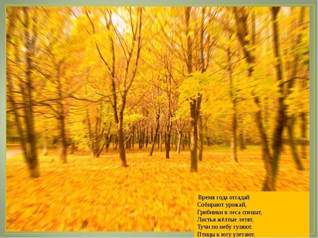 Время года отгадай Собирают урожай, Грибники в леса спешат, Листья жёлтые ле...