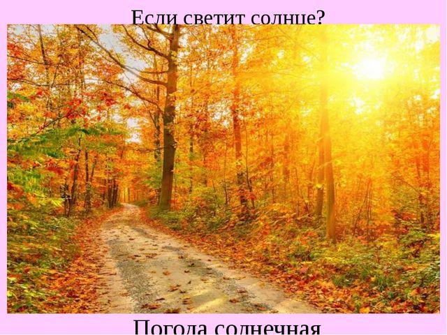Если светит солнце? Погода солнечная
