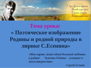 Тема урока: « Поэтическое изображение Родины и родной природы в лирике С.Есен