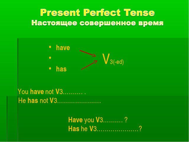 have has V3(-ed) Have you V3………. ? Has he V3…………………? You have not V3………. . H...