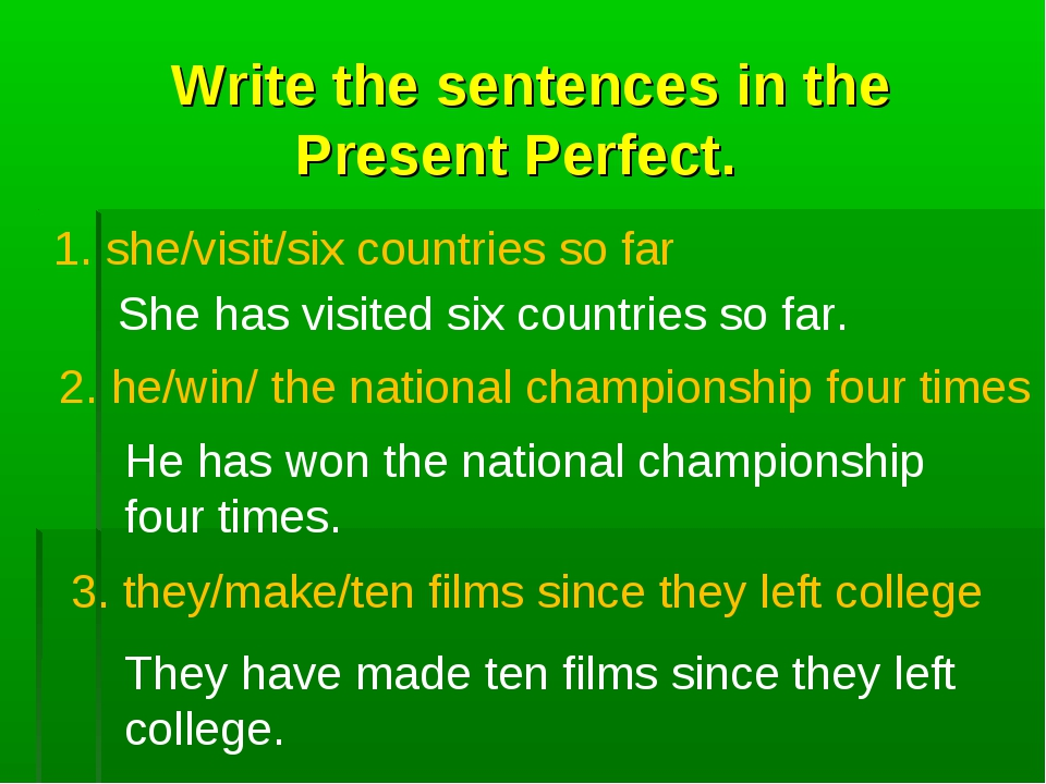 Write the sentences in the Present Perfect. 1. she/visit/six countries so fa...