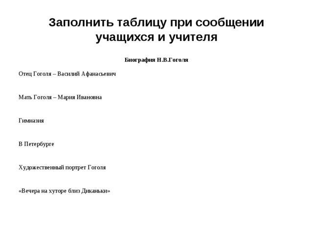 Заполнить таблицу при сообщении учащихся и учителя Биография Н.В.Гоголя Отец...