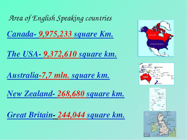 Area of English Speaking countries Canada- 9,975,233 square Km. The USA- 9,37...