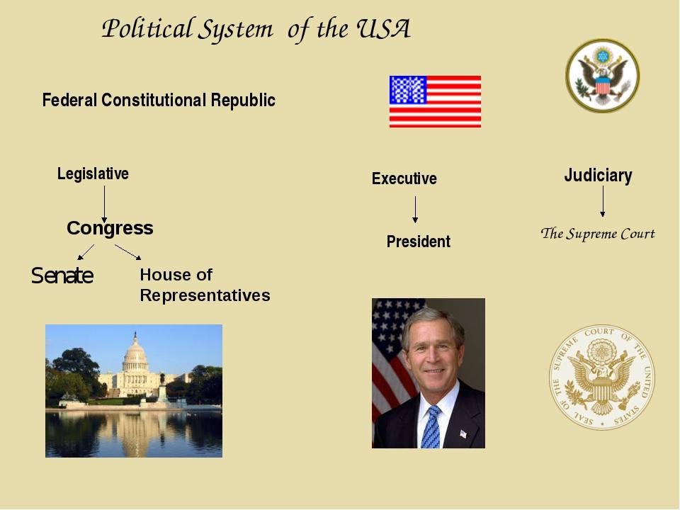 Political System of the USA Federal Constitutional Republic Legislative Congr...