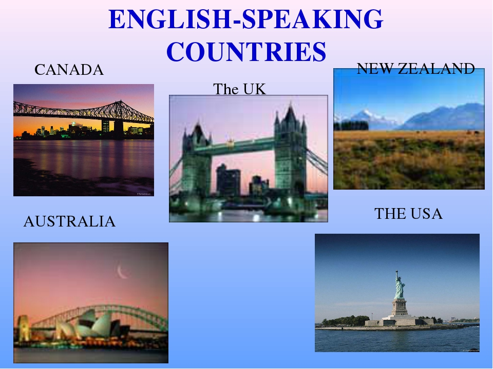 ENGLISH-SPEAKING COUNTRIES CANADA The UK NEW ZEALAND AUSTRALIA THE USA