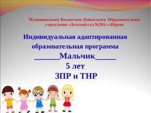 Индивидуальная адаптированная образовательная программа ______Мальчик_____ 5