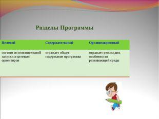 ЦелевойСодержательныйОрганизационный состоит из пояснительной записки и цел