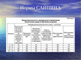 Нормы САНПИНА