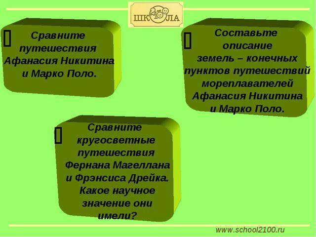 www.school2100.ru Сравните путешествия Афанасия Никитина и Марко Поло. Сравни...