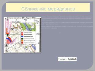Сближение меридианов Величина сближения меридианов, указанная на топографичес