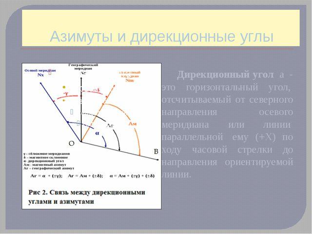 Азимуты и дирекционные углы Дирекционный угол a - это горизонтальный угол,...