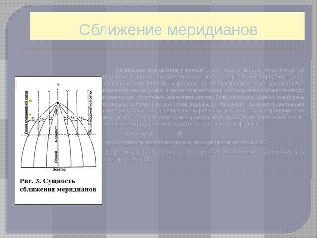 Сближение меридианов Сближение меридианову(гамма) - это угол в данной точке...