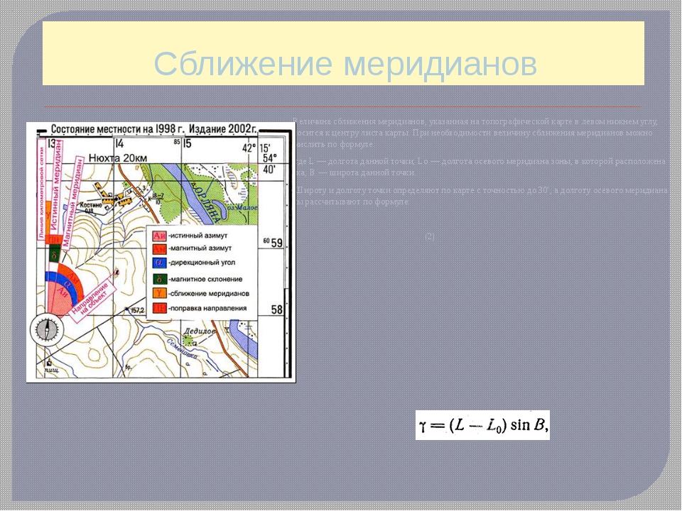 Сближение меридианов Величина сближения меридианов, указанная на топографичес...