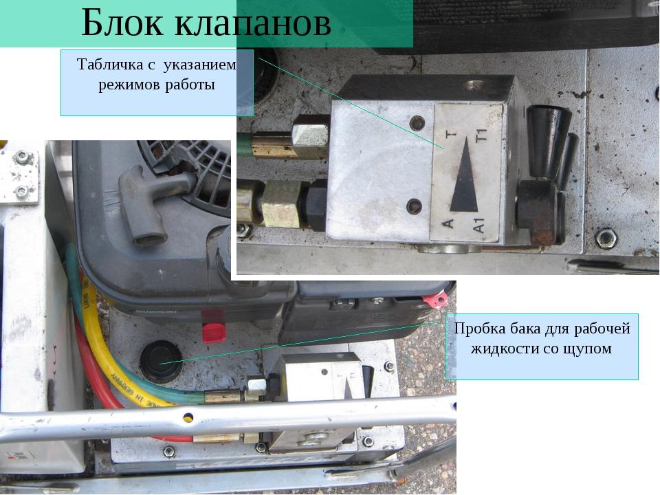 Блок клапанов Табличка с указанием режимов работы Пробка бака для рабочей жид...