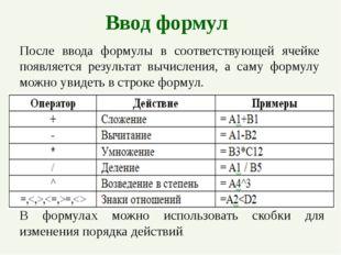 Ввод формул После ввода формулы в соответствующей ячейке появляется результат
