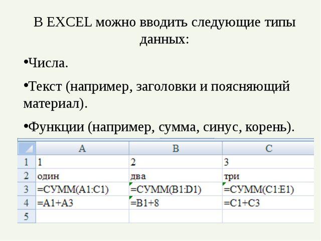 В EXCEL можно вводить следующие типы данных: Числа. Текст (например, заголовк...