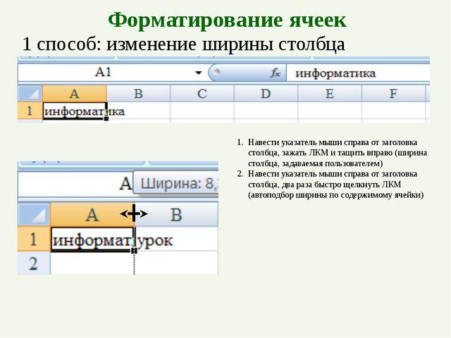 Форматирование ячеек 1 способ: изменение ширины столбца Навести указатель мыш...