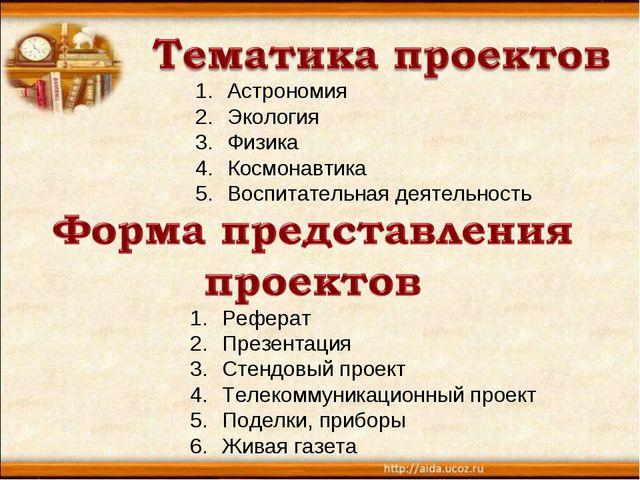 Астрономия Экология Физика Космонавтика Воспитательная деятельность Реферат П...