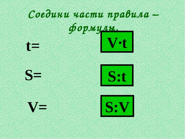 V·t S:t S:V S= V= t= Соедини части правила – формулы.