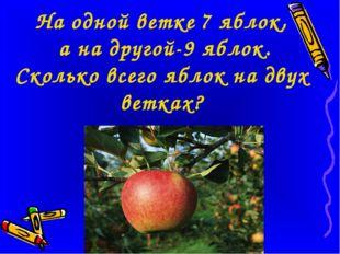 На одной ветке 7 яблок, а на другой-9 яблок. Сколько всего яблок на двух вет