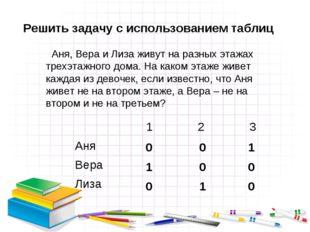 Решить задачу с использованием таблиц Аня, Вера и Лиза живут на разных этажах