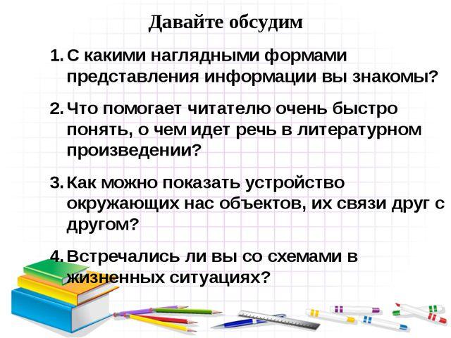 С какими наглядными формами представления информации вы знакомы? Что помогает...