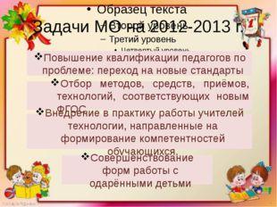 Задачи МО на 2012-2013 г. Повышение квалификации педагогов по проблеме: перех