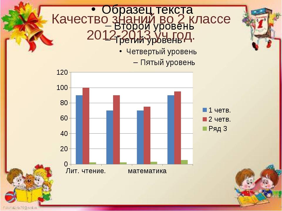 Качество знаний во 2 классе 2012-2013 уч.год.