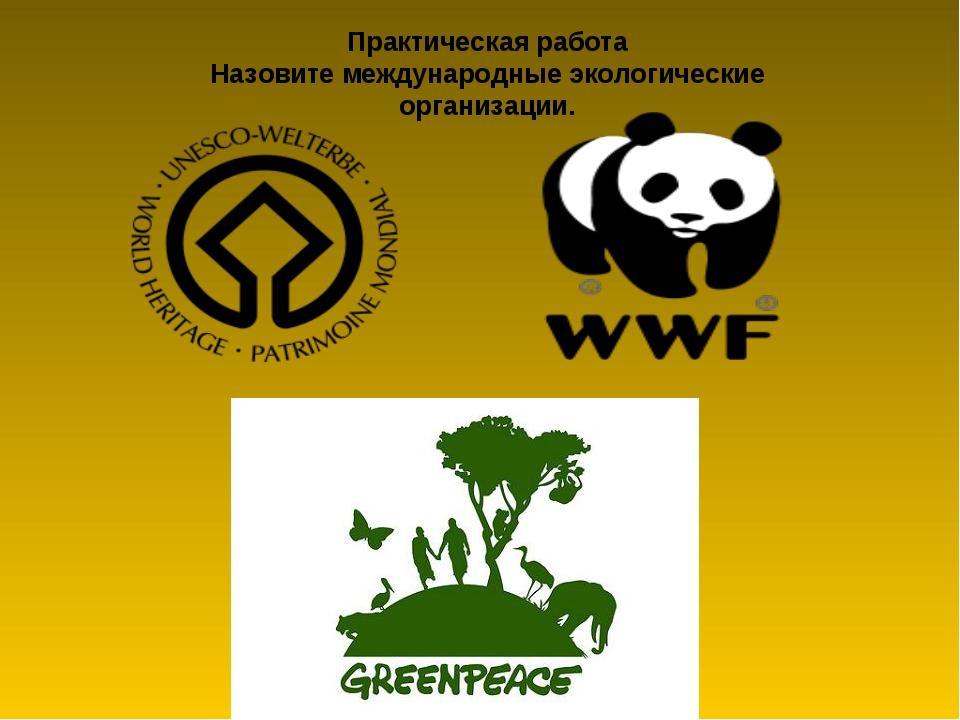 Практическая работа Назовите международные экологические организации.