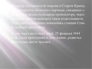 В камеру гестаповской тюрьмы в Старом Крыму, где находилось несколько партиз