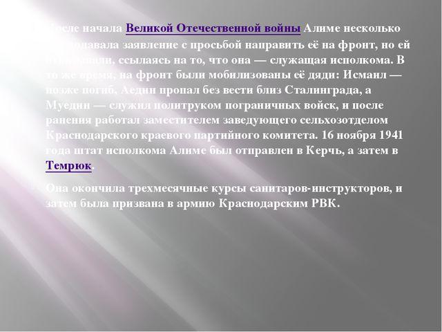 После началаВеликой Отечественной войныАлиме несколько раз подавала заявле...