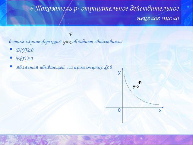 6.Показатель p- отрицательное действительное нецелое число -p в этом случае ф...