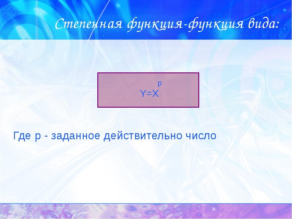 Степенная функция-функция вида: Где р - заданное действительно число р Y=X