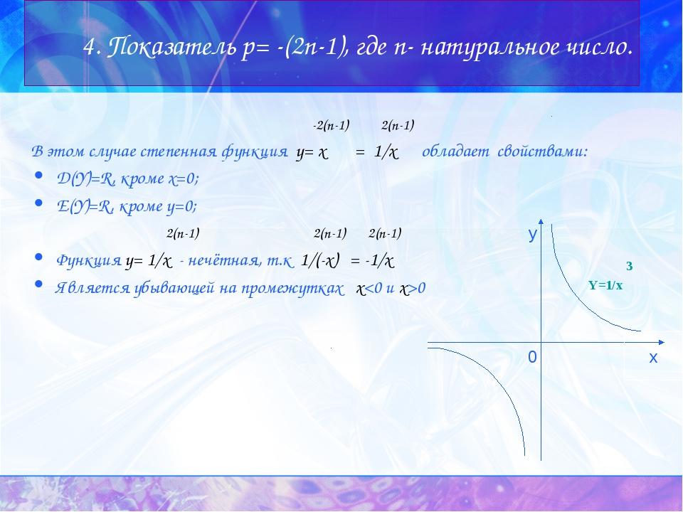 4. Показатель p= -(2n-1), где n- натуральное число. -2(n-1) 2(n-1) В этом слу...