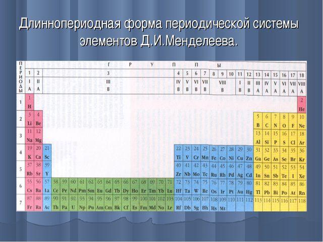Длиннопериодная форма периодической системы элементов Д.И.Менделеева.