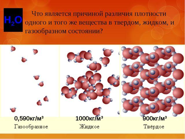 Что является причиной различия плотности одного и того же вещества в твердом...