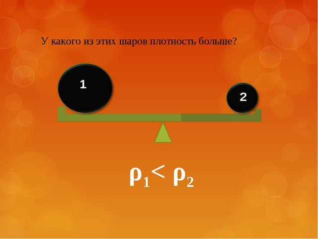 У какого из этих шаров плотность больше? 1 2 ρ1< ρ2