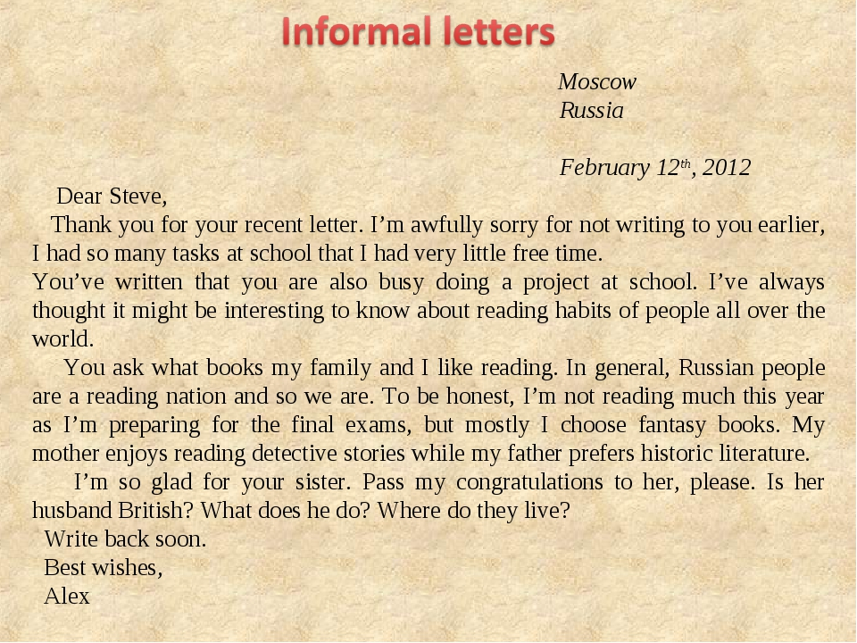 Moscow Russia February 12th, 2012 Dear Steve, Thank you for your recent lett...