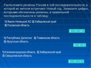 Расположите регионы России в той последовательности, в которой их жители встр